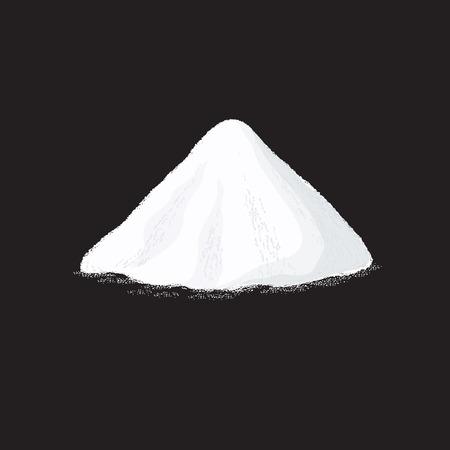소금 더미. 검은 배경에 흰색 설탕 가루 힙 벡터 일러스트 레이 션. 분말 힙 천연, 소금 또는 소다