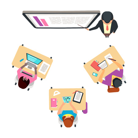 Classroom top view with international students. Adult studying vector concept. Illustration of university or school education and training