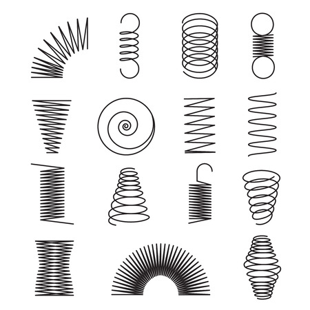 Metallfedern. Spirallinien, Spulenformen isolierte Vektorsymbole. Illustration der flexiblen Spiral- und Federleitung