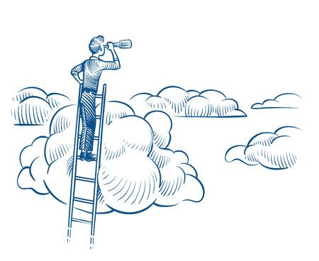 Visión empresarial. Hombre de negocios con pie de telescopio en la escalera entre las nubes. Concepto de vector de bosquejo de logros futuros exitosos. Ilustración de liderazgo en escalera con telescopio.