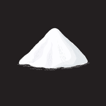 Salt pile. White sugar powder heap vector illustration on black background. Powder heap natural, salt or soda