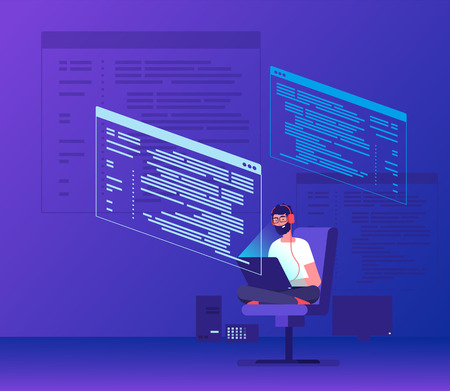 Programmer coding. Young man freelancer working on program code with laptop. Geek coding software vector concept. Illustration of man developer with laptop Stockfoto