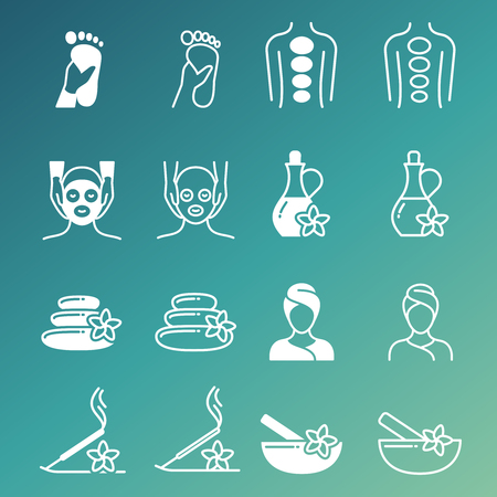 Line and outline massage and relaxing vector icons isolated on green background illustration