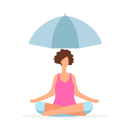 Meditation saves the girl from problems vector concept. The girl meditates under the umbrella isolated on white Banco de Imagens