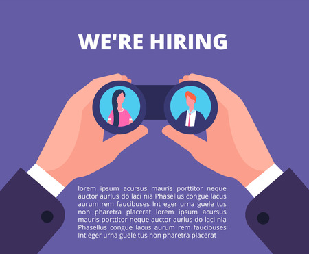 We are hiring concept. Businessman, recruiter hands holding binocular with employees in lenses. Recruiting vector poster, looking in binocular and watch woman and man illustration 向量圖像