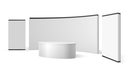 White exhibition stand. Blank trade show booth promotional display. Event panel vector 3d isolated template. Illustration of stand mockup for promotion and presentation news studio