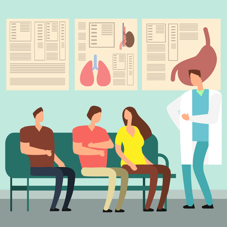 Koncepcja wektor opieki zdrowotnej - pacjenci i lekarz w poczekalni szpitala. Osoby niepełnosprawne w gabinecie lekarskim. Ilustracja pacjenta oczekującego lekarza, korytarza szpitalnego i holu