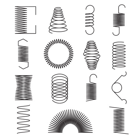 Metal spring icons. Flexible spiral lines, steel wire coils isolated vector symbols. Flexible coil and spring, spiral of part line illustration