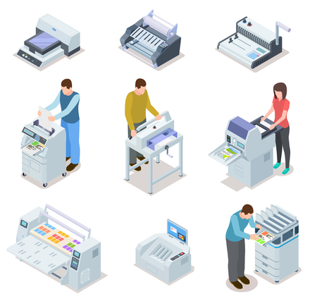 Printing house equipment. Printer plotter, offset cutting machines and people workers. Industrial polygraphy isometric vector icons. Illustration of equipment printer and polygraphy device