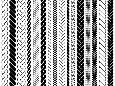 Plaits and braids pattern brushes. Knitting, braided ropes vector isolated collection. Braid pattern decoration, fabric textile ornament illustration