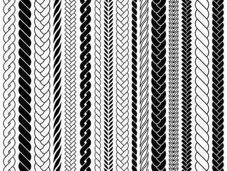 Zöpfe und Zöpfe Musterbürsten. Stricken, geflochtene Seile Vektor isolierte Sammlung. Flechtmusterdekoration, Stofftextilverzierungsillustration