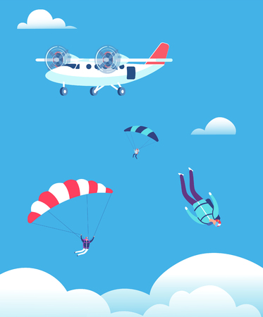 Skydiving concept. Parachutists jumping out of plane in blue sky. People skydivers vector illustration. Parachutist skydiving, parachute jump