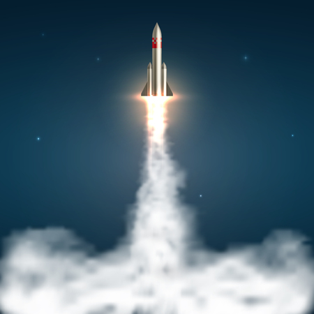 Space rocket launch. Spaceship take off with fire and jet smoky trail. Space travel and start up isolated vector illustration. Spaceship and rocket, jet launch start