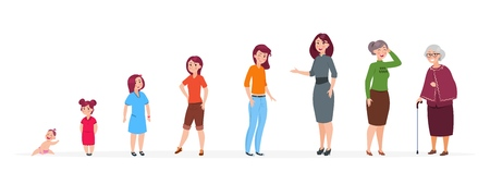 Woman in different ages. Cartoon baby girl teenager, adult women elderly person. Growth stages vector family characters. Woman and grandmother, mother and baby girl illustration
