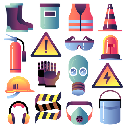 Safety equipment. Personal protection for construction works. Helmet, glove and glasses. Safety job vector icons. Illustration of helmet equipment, work protection and safety