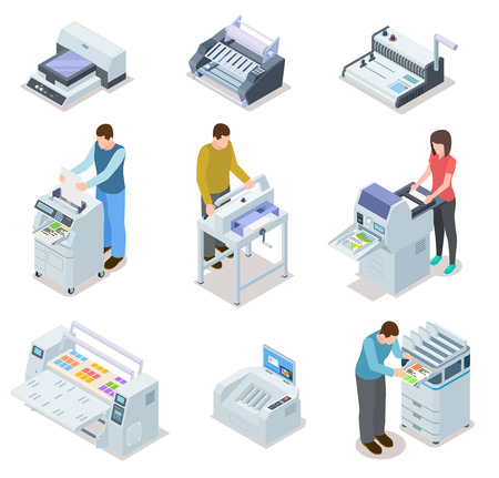 Printing house equipment. Printer plotter, offset cutting machines and people workers. Industrial polygraphy isometric vector icons. Illustration of equipment printer and polygraphy device Stock Photo