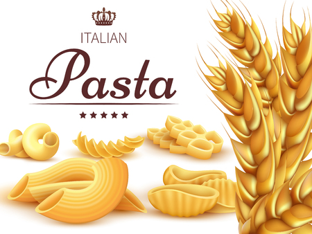 Royal italian pasta background or poster with wheat. Banner and poster