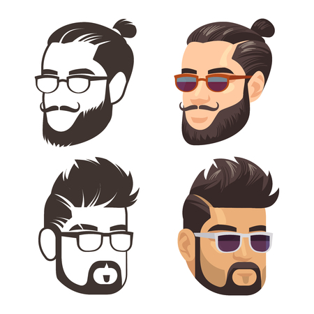 Fashion male haircute and shaven beard. Hipster barber shop logo vector design illustration isolated on white
