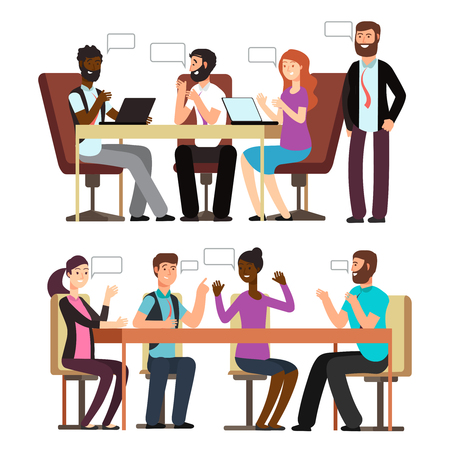 International businesspeople have conversation in different business situations in office. Vector illustration Banco de Imagens