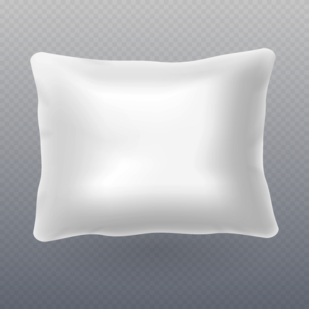 Soft white realistic pillow for bed isolated on transparent background. Vector illustration Banque d'images - 112775753