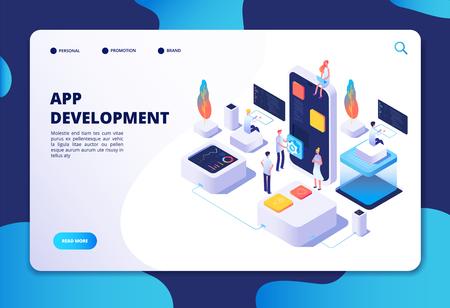 App development concept. Developer designer work on smartphone mobile application. Customized ui design isometric vector infographic. App development designer, project and programming illustration Vektoros illusztráció