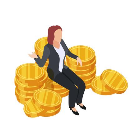 Geschäftsfrau, die auf dem isometrischen Vektor der goldenen Münzen sitzt. Dollar-Königin isoliert auf weißem Hintergrund. Finanzgoldstapel, erfolgreiche Dameillustration Vektorgrafik