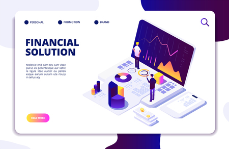 Economics finance manager isometric concept. Fund, budget tax management. People advisors check finance report. Vector landing page finance solution manager, management isometric illustration Vettoriali
