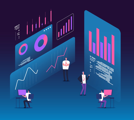 Investment strategy isometric concept. People with analytics data diagrams. Digital business technology marketing 3d vector design. Research data and infographic, financial diagram illustration