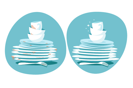 Clean and dirty dishes. Kitchen plates before and after washing. Kitchen utensils wash vector concept. Dirty plate dish, unwashed, dinnerware illustration 矢量图像