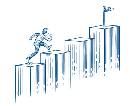 Businessman running up stairs. Man walking to target. Success career and business opportunity hand drawn vector concept. Run man on stair growth illustration