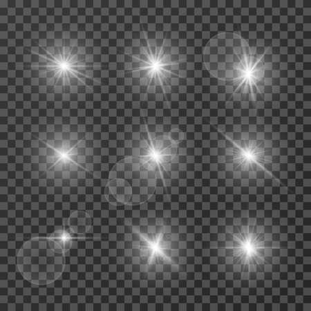 Lens effects. Camera flash light, flare. White light spot glowing sparkles, starlight isolated on transparent background vector set. Illustration of sparkle glow, flash star shine, bright lens