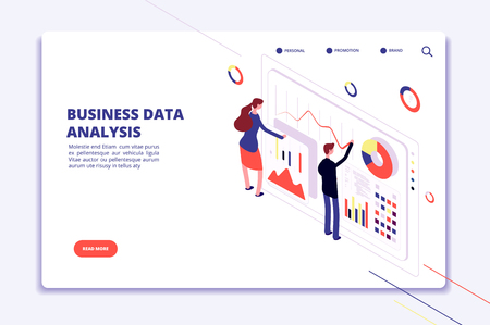 Data analysis. People work on business finance charts. Statistical surveillance. Big data isometric vector concept. Illustration of business data analysis 3d isometric Vektoros illusztráció