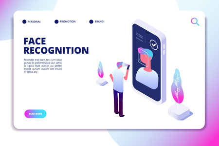 Face recognition isometric concept. Id verification smartphone scanner. Personal identify, face authentic reader vector landing page. Illustration of smartphone scanning face and recognition