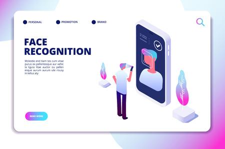 Isometrisches Konzept der Gesichtserkennung. Smartphone-Scanner zur Identitätsprüfung. Persönliche Identifizierung, authentische Leservektor-Landingpage. Abbildung: Smartphone scannt Gesicht und Erkennung Vektorgrafik