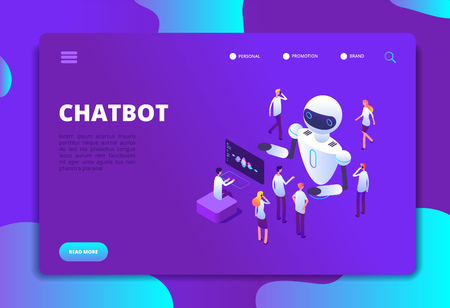 Chatbot isometric concept. Bot chatting with people. Artificial intelligence conversation future technology vector landing page. Development robot for support, virtual ai isometry illustration