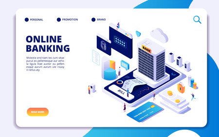 Online banking isometric landing page. Internet money transfers, secure payment smartphone paying protection. Banking vector concept. Illustration of banking payment isometric, online pay smartphone