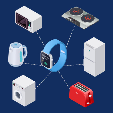 Smart home system with smart clock and house equipment isometric elements. Illustration of house system control with smart watch