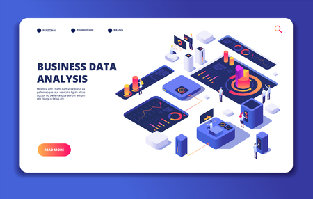 People work with dashboard. Modern statistics technology, designer interacts with financial process charts. Landing web vector page. Dashboard work interact with business data analysis illustration Ilustração