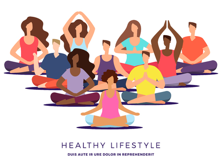 Yoga or pilates class vector illustration. Meditation woman and man. Relaxation and posture yoga exercise for zen Vektorové ilustrace