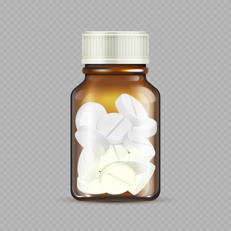 Realistic drugs bottle isolated on transparent background. Brown glass bottle with pills - medicine vector illustration. Medical bottle with tablets, pharmacy and medicine drug container Stock Photo