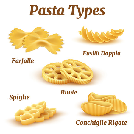 Realistic traditional italian pasta types vector set. Illustration of macaroni traditional for pasta italian