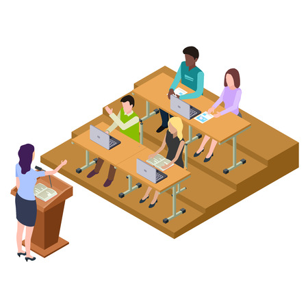 International students on lecture, seminar isometric vector illustration. Education and seminar isometric, student on lecture