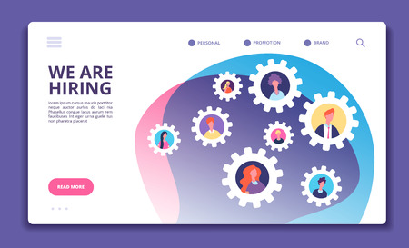 We are hiring concept. Finding employee. Hr job seeking. Open vacancy and recruitment vector banner. Illustration of we hiring, choice candidate, employee company