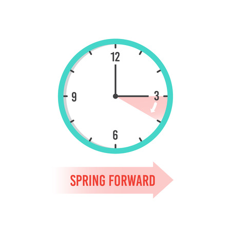 Spring forward. Clock showing daylight saving time. Summer time vector concept. Clock time, change dst on watch illustration Stock Photo