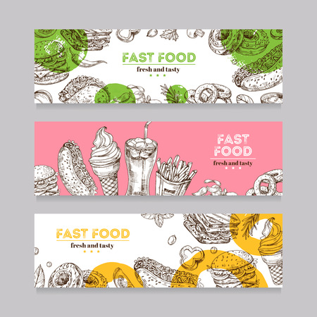 Fast food banners. Sketch burger, pizza, and snack, sandwich, ice cream and chips. Fast food restaurant horizontal advertising banners. Fast food hamburger, pizza lunch illustration Illustration