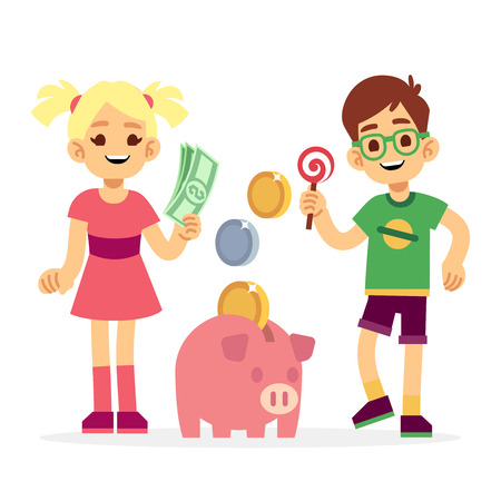 Financial literacy of children concept. Kids saving money with piggy bank. Children boy and girl with moneybox illustration