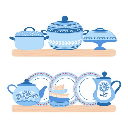 Crockery ceramic cookware. Blue porcelain bowls, plates, teapot and pand on the wood shelfs. Vector crockery ceramic, kitchen utensil and tableware illustration