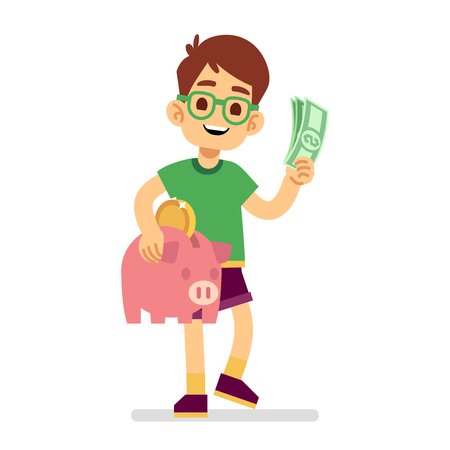 Boy saves money with piggy bank vector illustration. Piggy money, boy with cash Illustration