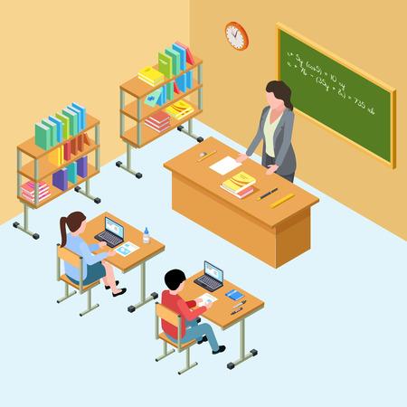 Salle de classe isométrique avec professeur et enfants. Illustration vectorielle de lycée. École d'éducation isométrique, enseignant en classe avec des étudiants Vecteurs