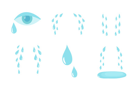 Cartoon tears. Cry and sweat drops. Crying tears, droplets from eyes vector isolated set. Illustration of drop tear and cry sorrow and sadness Illustration